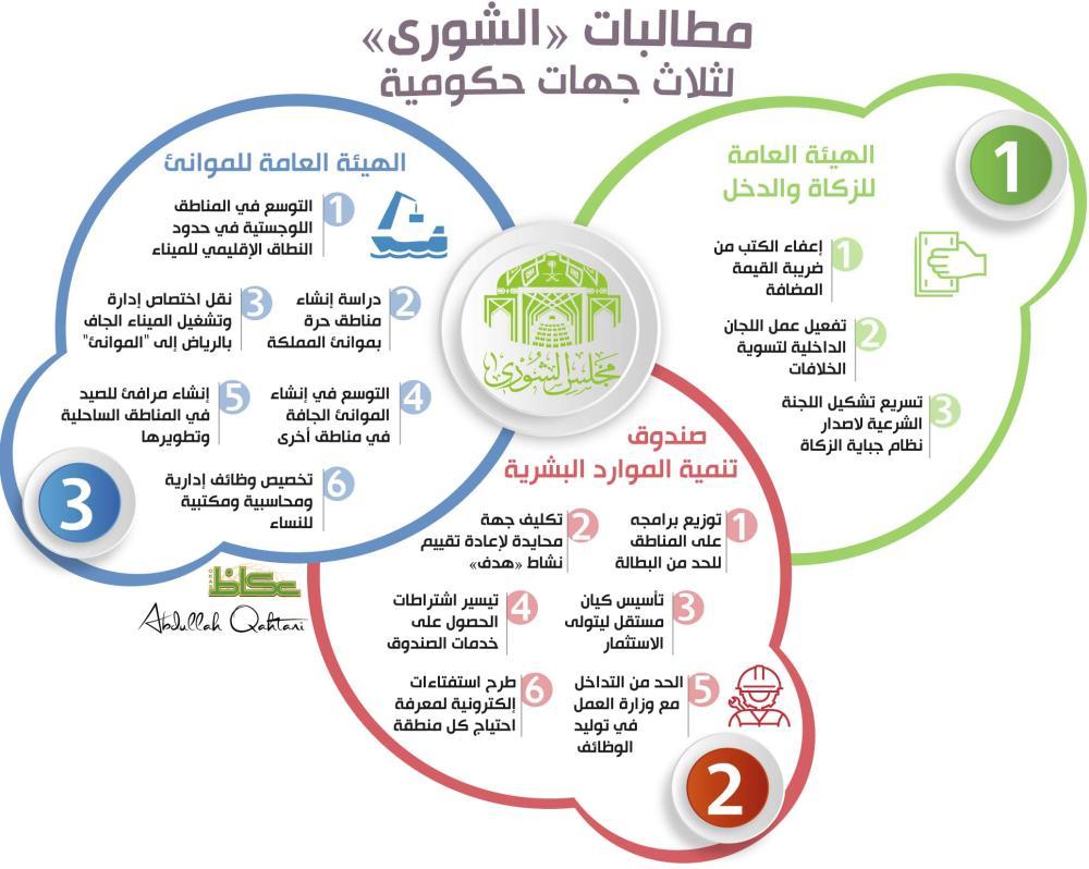 مطالبات «الشورى» لثلاث جهات حكومية