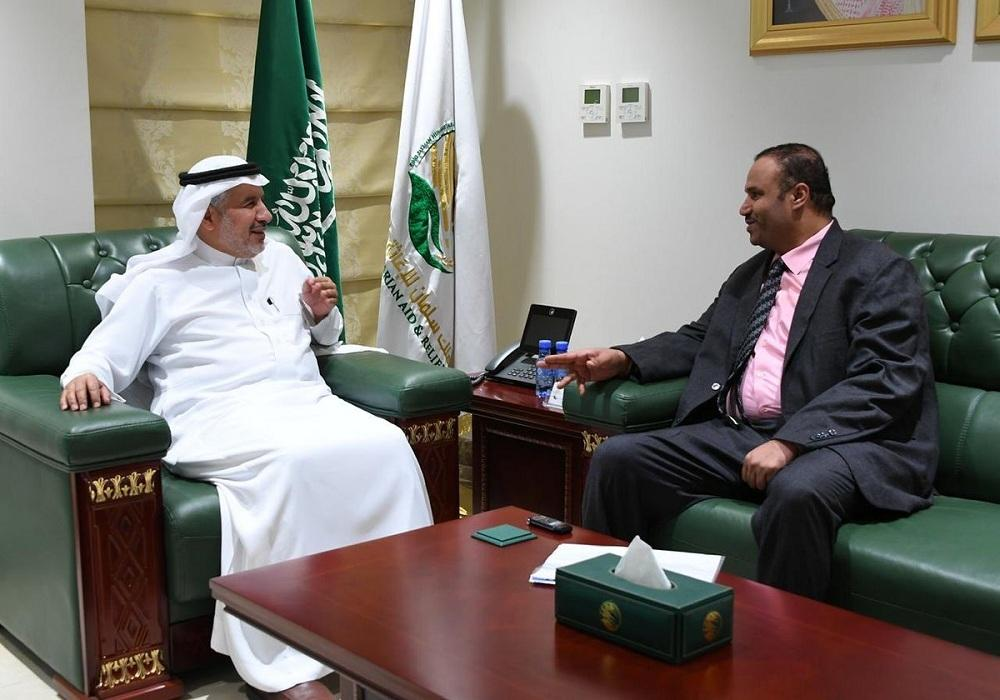 During the meeting, they discussed several topics pertaining to the humanitarian and aid aspects provided by the KSRelief to all Yemeni governorates.