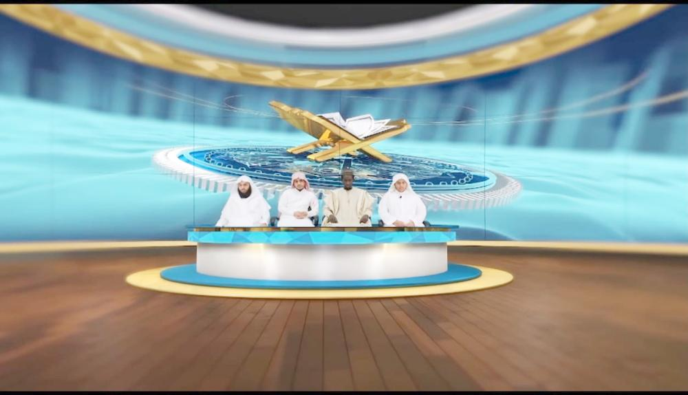 لقطة من البرنامج التلفزيوني للجامعة الإسلامية. (عكاظ)
