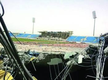 ملعب 22 مايو الدولي أحد منشآت خليجي 20 الذي دمره الحوثيون في عدن (متداولة).