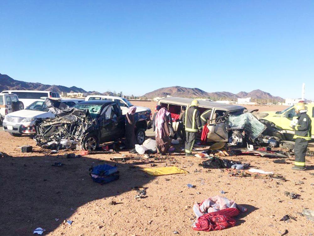 آثار حادثة التصادم على طريق السبعان وسميراء.