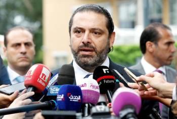 الحريري متحدثاً لوسائل الإعلام أخيراً. (رويترز)