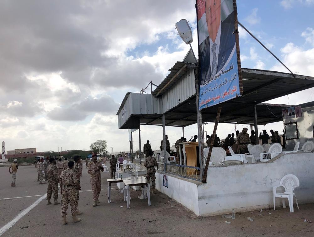 منصة للجنود العسكريين استهدفها الحوثيون