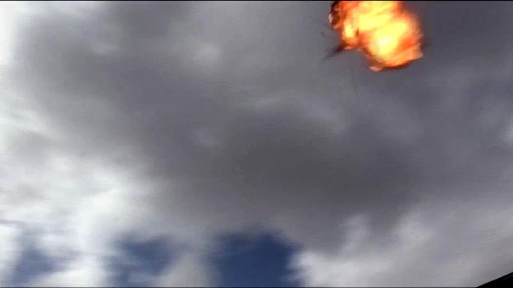 لحظة انفجار الطائرة المسيرة