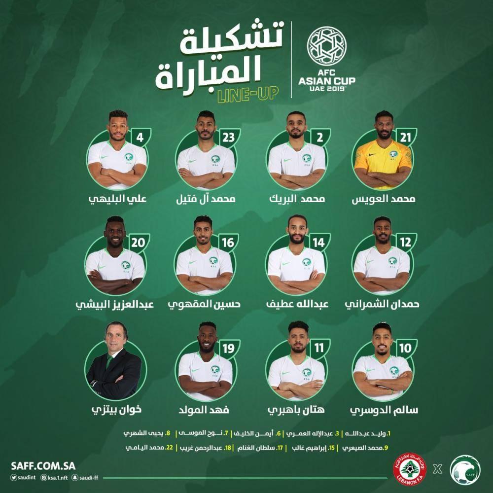 تعرف على تشكيلة «الأخضر» أمام لبنان
