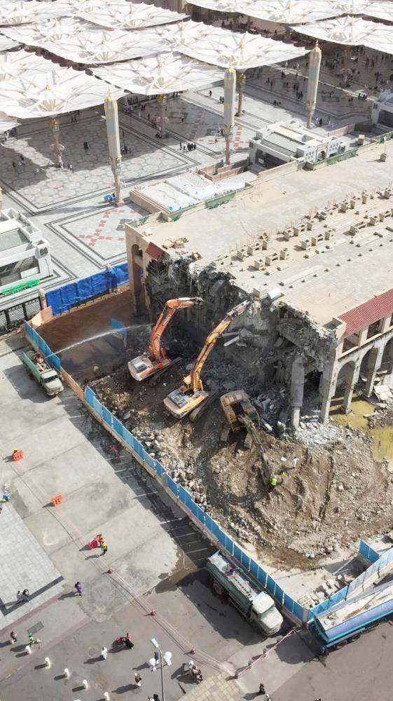 جانب من أعمال التوسعة في المسجد النبوي. (تصوير: عبدالمجيد الدويني)