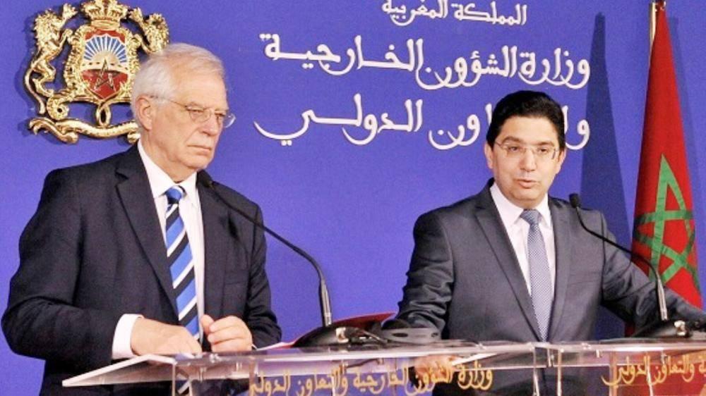 وزير خارجية المغرب ونظيره الإسباني خلال الندوة.