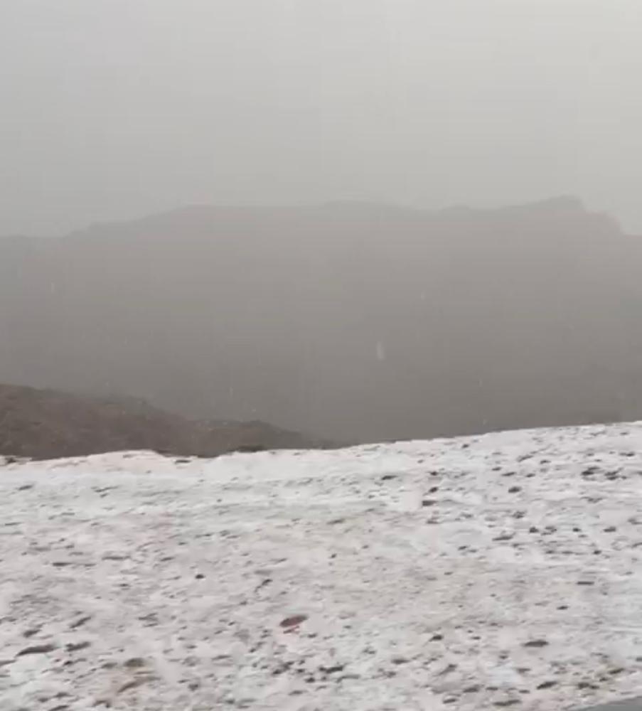 تبوك: الثلوج تزيّن جبال اللوز