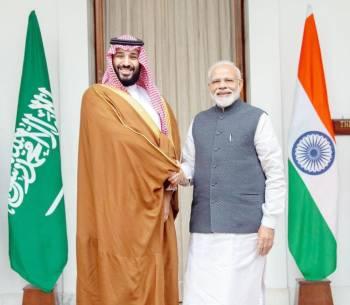 ولي العهد خلال لقائه رئيس الوزراء الهندي ناريندرا مودي.