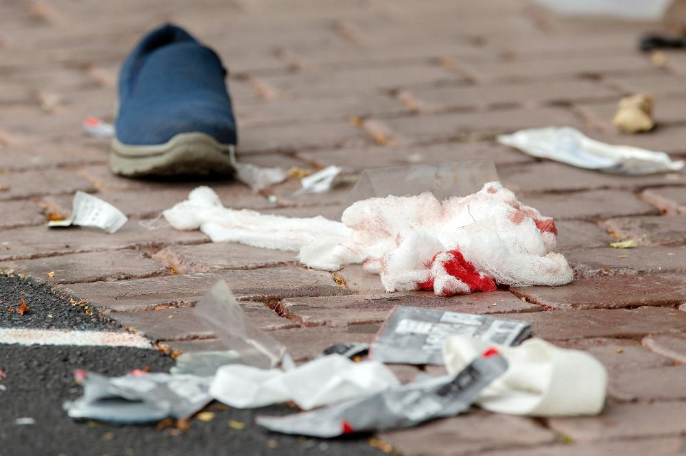 Bloodied bandages on the road following a shooting at the Al Noor mosque in Christchurch, New Zealand, March 15, 2019. REUTERS/SNPA/Martin Hunter  ATTENTION EDITORS - NO RESALES. NO ARCHIVES