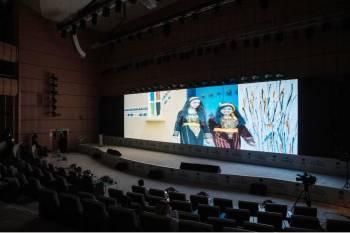 جانب من عرض فيلم القط وفضيلة في معرض الرياض للكتاب.