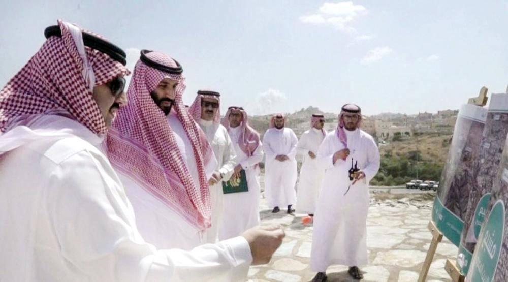 ولي العهد يطلع على أحد مشاريع عسير السياحية.