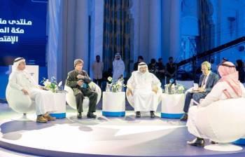 المتحدثون في جلسات منتدى منطقة مكة الاقتصادي أمس. (عكاظ)