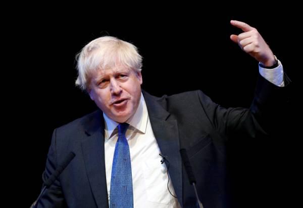 FILE PHOTO: Boris Johnson speaks at the Conservative Home fringe meeting at the Conservative Party Conference in Birmingham, Britain, October 2, 2018. REUTERS/Darren Staples/File Photo