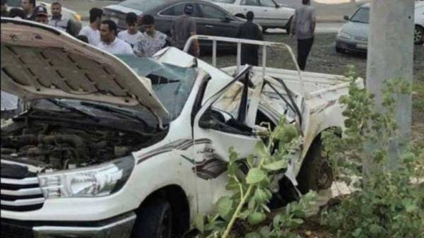سيارة محمد دوشي مهشمة بعد انقلابها.