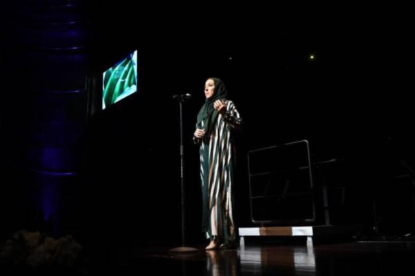 السعودية سوسن البهيتي تؤدي النشيد الوطني بطريقة أوبرالية