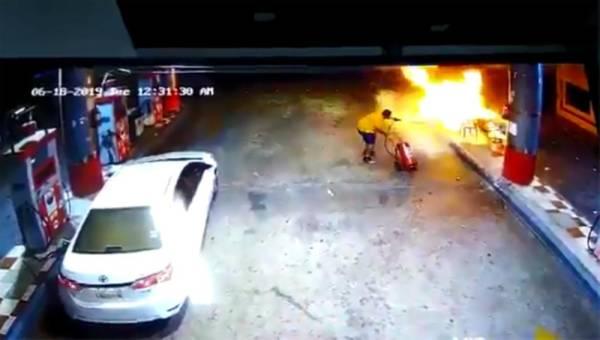 شجاعة مواطن تنقذ العابرين من كارثة انفجار محطة بنزين في ينبع