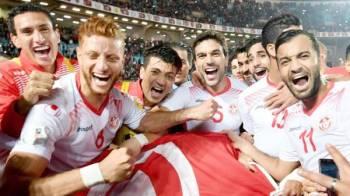 فرحة سابقة للاعبي منتخب تونس.