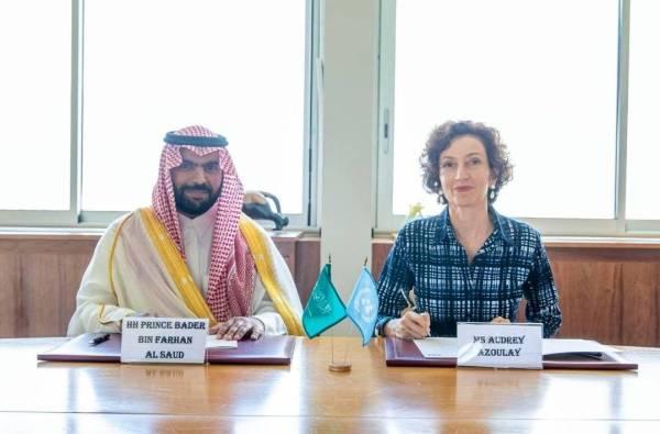 وزير الثقافة يوقع اتفاقية دعم المملكة لـ«اليونسكو» للحفاظ على التراث