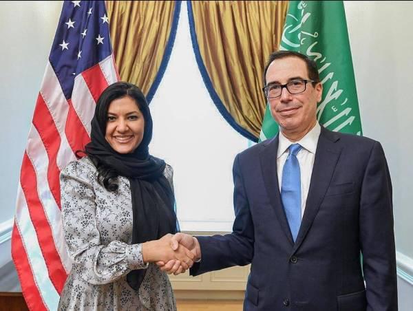 ريما بنت بندر تبحث مع وزير الخزانة الأمريكي مكافحة تمويل الإرهاب