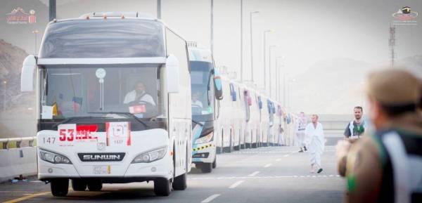 حافلات نفذت عبرها مبادرة النقل المجاني.