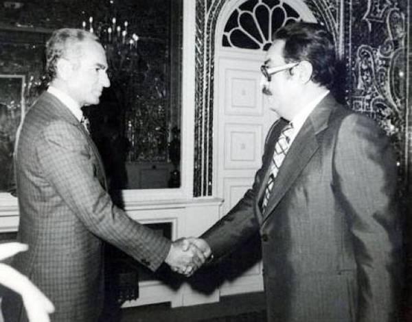 لاري مع الشاهنشاه في طهران في السبعينات.
