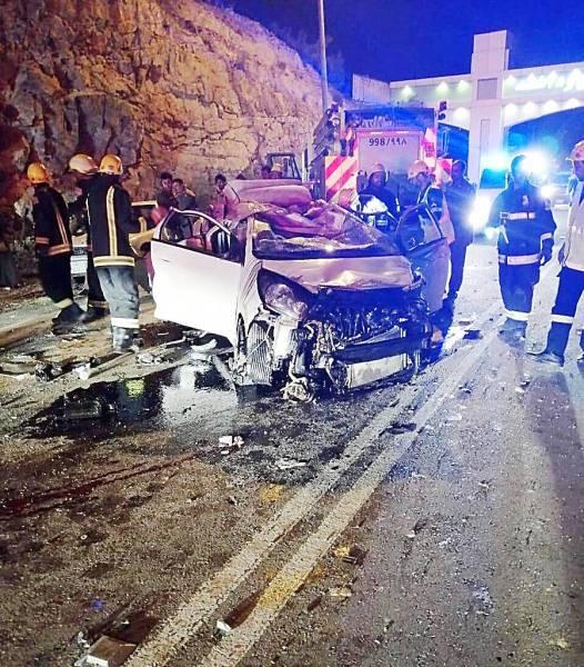 الحادثة المروعة التي ذهب ضحيتها الطفلان غيث ومالك على طريق الباحة المندق مساء أمس الأول.