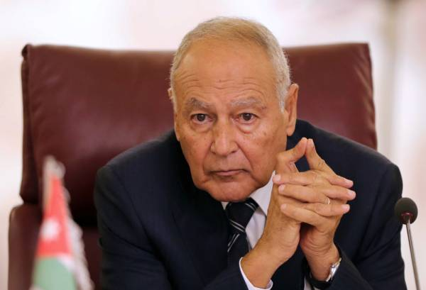 Secretary General of the Arab League Ahmed Aboul Gheit attends the Arab Foreign Ministers extraordinary meeting to discuss the Syrian crisis in Cairo, Egypt October 12, 2019. REUTERS/Mohamed Abd El Ghany