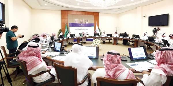 جانب من المؤتمر الصحفي الذي عقد في مقر المركز الوطني للقياس بالرياض أمس (الإثنين).