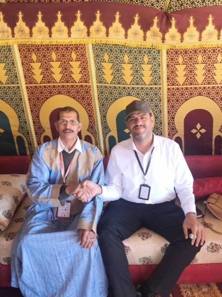 الوليد الحسن والحاج عمر بن تغروط عقب توقيع  اتفاقية شراكة الفروسية الدولية في المغرب.