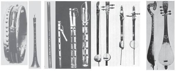 عدد من الآلات الموسيقية النادرة التي جلبها الرحالة الهولندي سنوك من رحلته المكية وأودعها في متحف «ريكس» في ليدن بهولندا، وتظهر من اليمين آلة العود، ثم الربابة (الكمان)، ويليها صورة للمزمار (قصبة الناي)، ثم «الشبابة» (الناي الأبيض) ويليه «الناي المكي» (الزنامي)، ثم أخيراً صورة «الدف» أو «الطار». (المصدر: دراسات في الموسيقى الشرقية، هنري جورج فارمر)