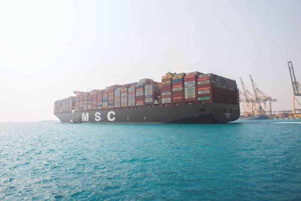 ميناء مدينة الملك عبدالله الاقتصادية يستقبل أضخم سفينة بالعالم.. «MSC مينا»