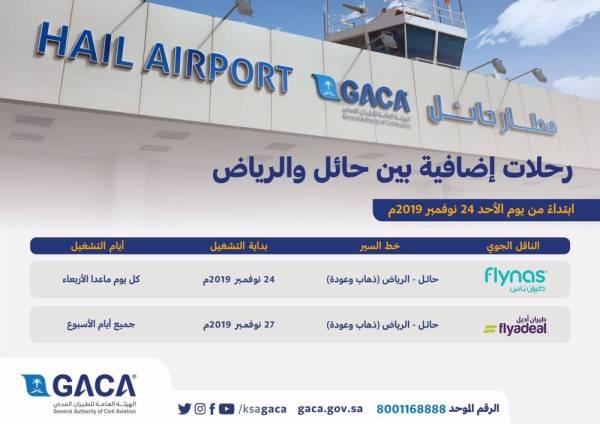 «الطيران المدني»: زيادة جديدة لرحالات حائل - الرياض