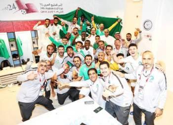 فرحة بعثة المنتخب السعودي بالوصول للمباراة النهائية في خليجي 24 بالدوحة.