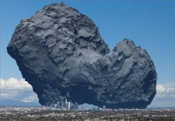 إليك أن تتخيل الحجم الفعلي لمذنب «تشوري» عند مقارنته بحجم وسط مدينة لوس أنجلوس. (فليكر)
