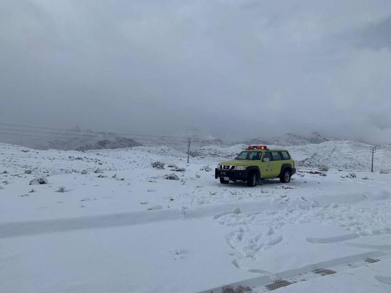 جمعة بيضاء في تبوك مرتفعات جبل اللوز تكتسي الثلوج أخبار