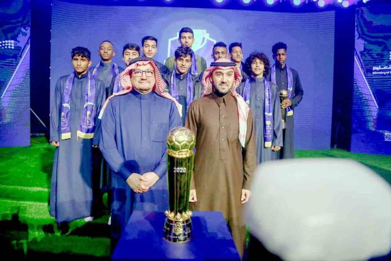الأمير عبدالعزيز بن تركي الفيصل، ووزير التعليم الدكتور حمد آل الشيخ على هامش المؤتمر الصحفي لتدشين دوري المدارس في نسخته الثانية في الرياض.