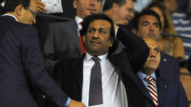 Malaga CF's chairman Sheikh Abdallah Ben Nasser Al-Thani (c) gestures during a Spanish league football match match between Malaga C.F. and Sevilla at Rosaleda stadium on September 19, 2010. AFP PHOTO / JORGE GUERRERO. (Photo credit should read Jorge Guerrero/AFP/Getty Images)