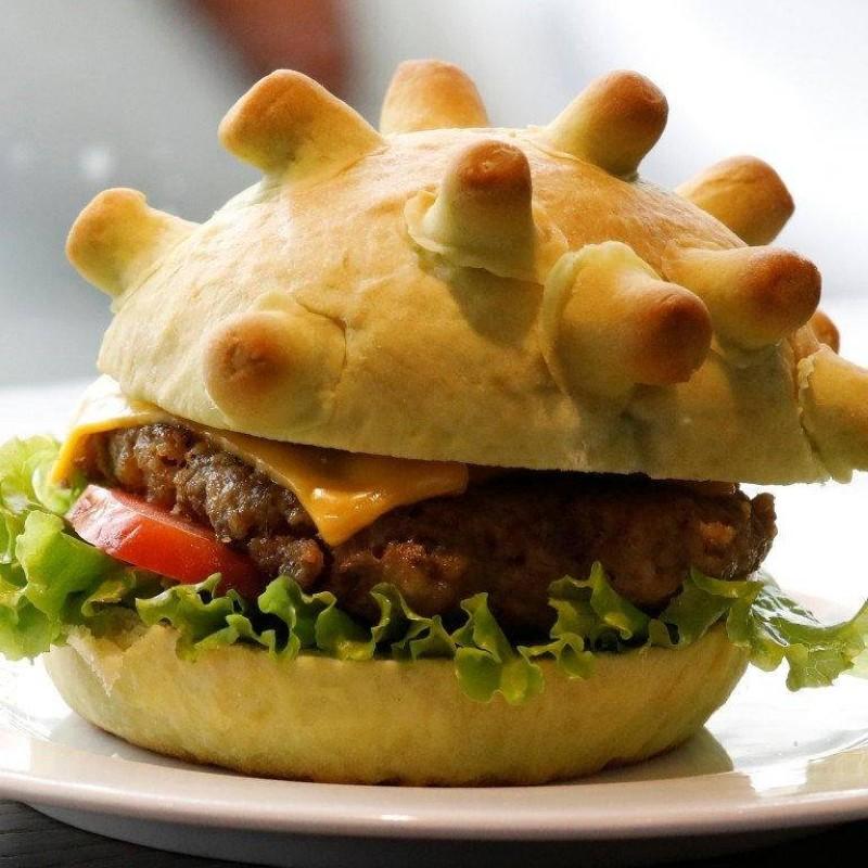 ساندويتش برجر على شكل فايروس كورونا