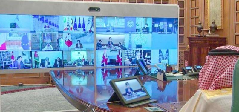 الملك سلمان خلال ترؤسه القمة الاستثنائية لقادة مجموعة العشرين.