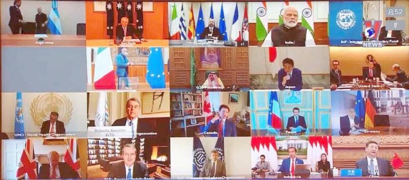 قادة دول العشرين خلال القمة الاستثنائية الافتراضية.