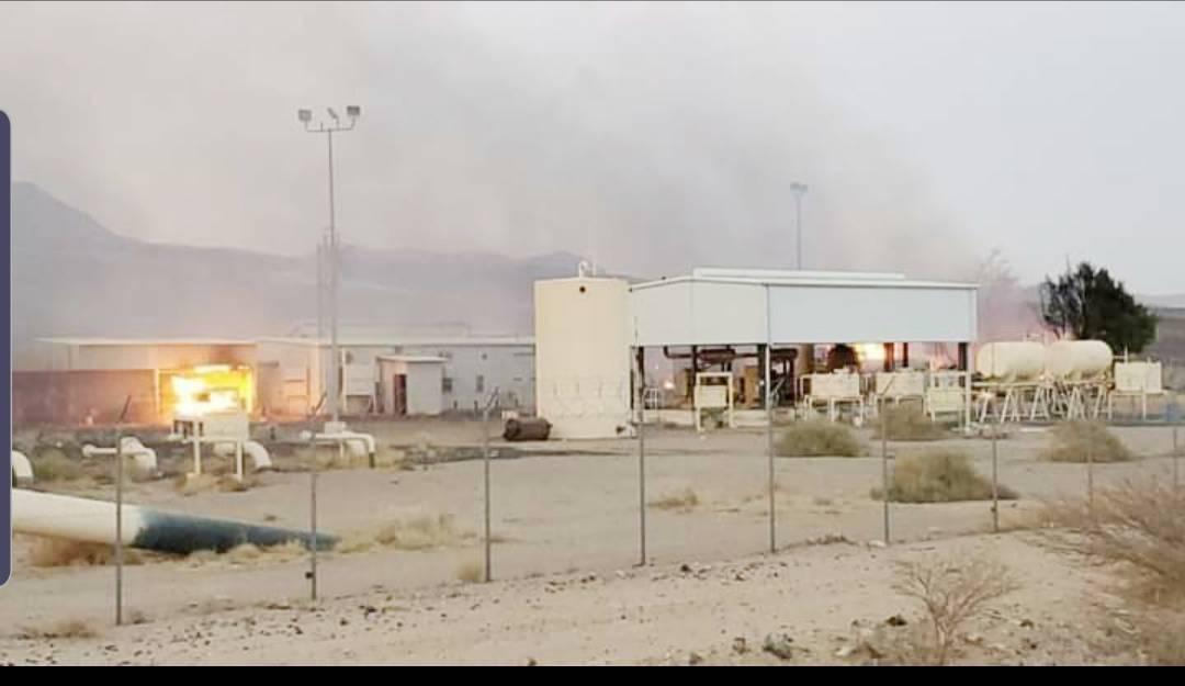 مضخة النفط التي فجرتها المليشيا في صرواح بمأرب أمس الأول. (سبأ)