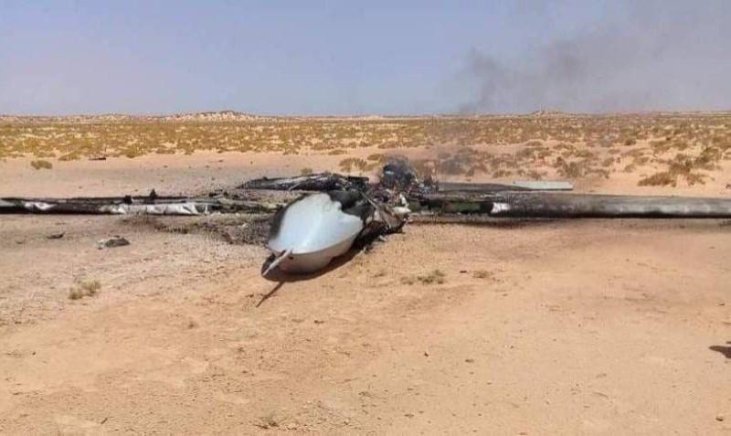 صورة أرشيفية لطائرة تركية مسيرة أسقطتها قوات الجيش الوطني الليبي