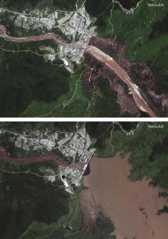 صور الأقمار الصناعية تظهر زيادة مياه خزان سد النهضة.