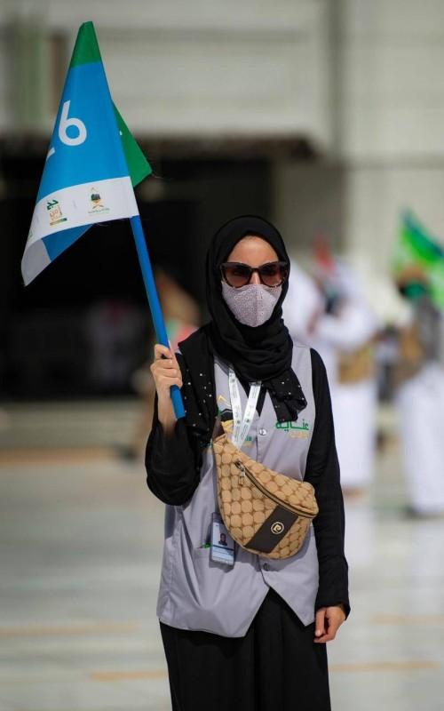 شفياء محمد أثناء عملها مع فوج الحجاج