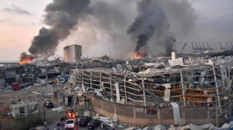 آثار الدمار قرب مرفأ بيروت