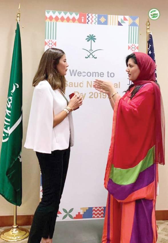 سفيرة خادم الحرمين الشرفين لدى الولايات المتحدة الأمريكية الاميرة ريما بنت بند خلال حديثها على هامش احتفالات السفارة السعودية في واشنطن