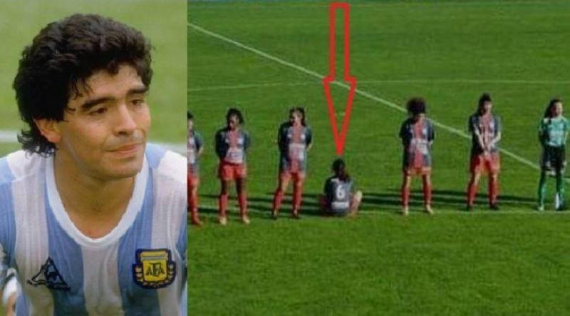 باولا دايينا جالسة بظهرها رافضة الحداد على مارادونا.
