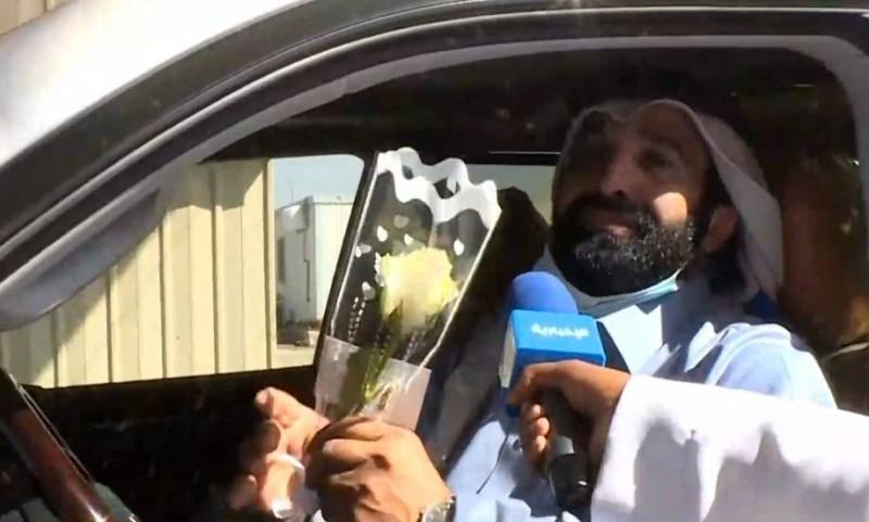 أول مواطن قطري لحظة وصوله إلى المنفذ ودخوله للمملكة