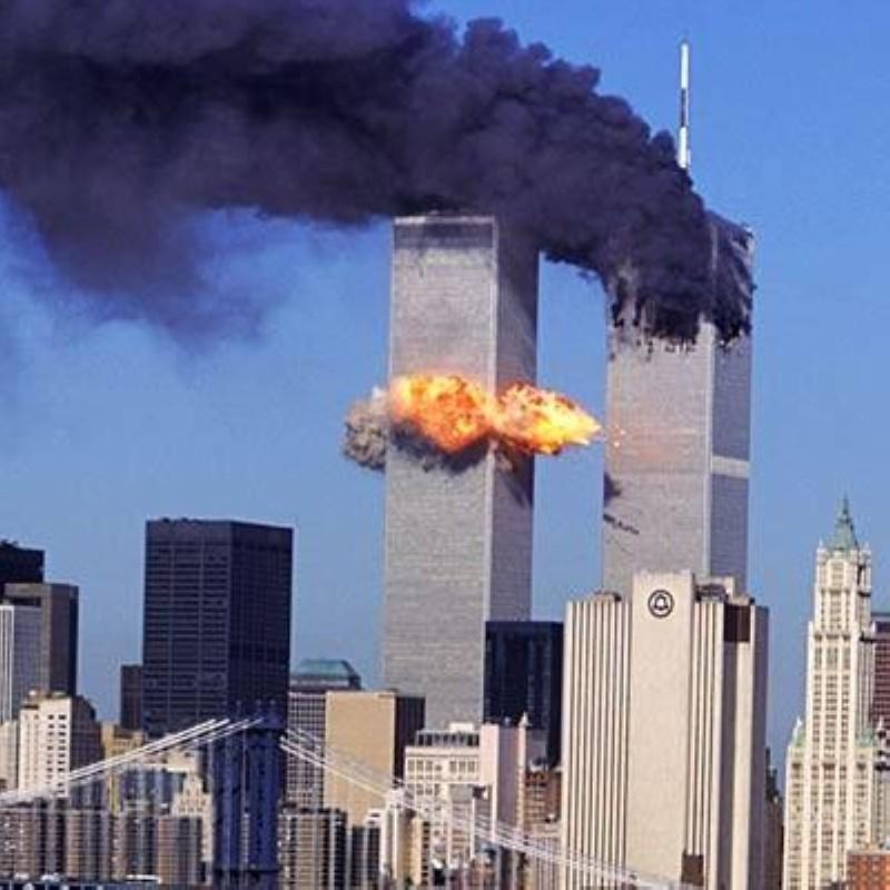 أبراج التجارة العالمية أثناء استهدافها من قبل الإرهابيين المدعوين من ايران